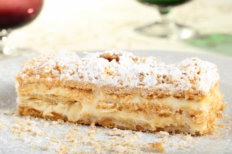 Mille feuille with cream. Close up mille feuille sweet puff pastry with cream royalty free stock image