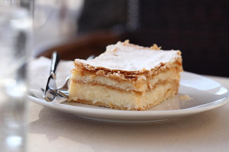 Mille-feuille. French dessert, mille-feuille, in the restaurant royalty free stock photo