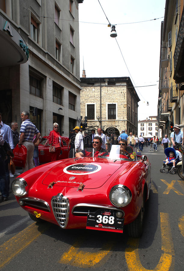 Mille Miglia. BRESCIA,ITALY - APR,14: a Alfa Romeo at the puncing of Mille Miglia,the famous race for historic cars,April 14,2009 in Brescia,Italy stock image