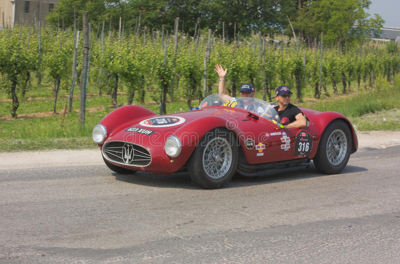Mille miglia 2011. FORLI, ITALY - MAY 13: Martin Sucari and Bruno Ricci drives a Maserati A6 GCS (1954) in stage Bologna-Roma of the Mille miglia revival race royalty free stock photos