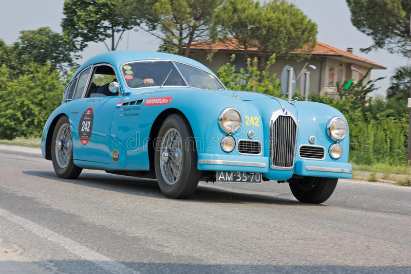 Mille miglia 2011. FORLI', ITALY - MAY 13: Engelbertus Kersten and Thecia Bodewes drives a Talbot Lago T26 Grand Sport(1950) in stage Bologna-Roma of the Mille stock image