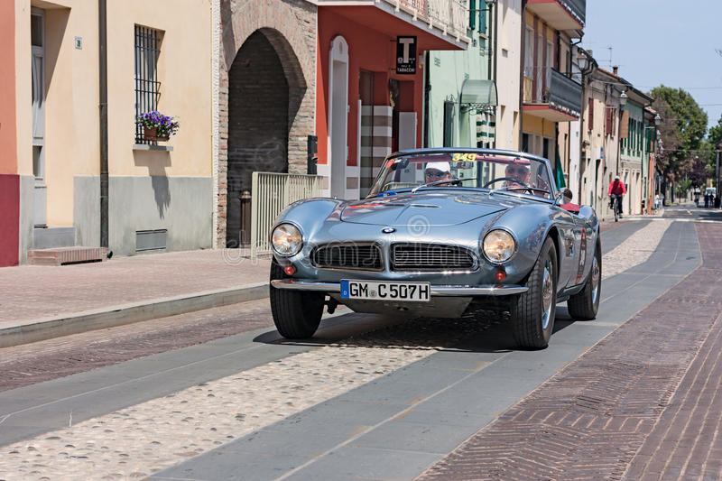 Mille Miglia 2012. A vintage car BMW 507 (1957) in classic cars rally Mille Miglia 2012, re-enactment of the old italian race (1927-1957) on May 18, 2012 in royalty free stock photography