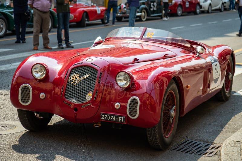 Mille Miglia histórico 1000 milhas de raça de carro na cidade de Bríxia, Itália Alfa Romeo 6c 2500, ano 1939 imagem de stock royalty free