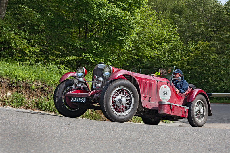 Mille Miglia 2013. An old car Mercedes-Benz SSK (1929) runs in rally Mille Miglia 2013, the famous italian historical race (1927-1957) on May 18, 2013 in Passo royalty free stock images