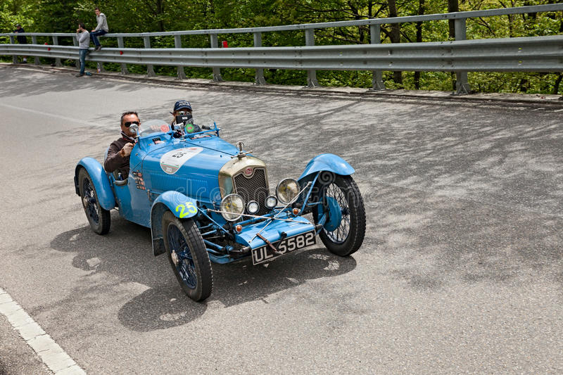 Mille Miglia 2013. An old car Rally ABC (1929) runs in rally Mille Miglia 2013, the famous italian historical race (1927-1957) on May 18, 2013 in Passo della stock photography
