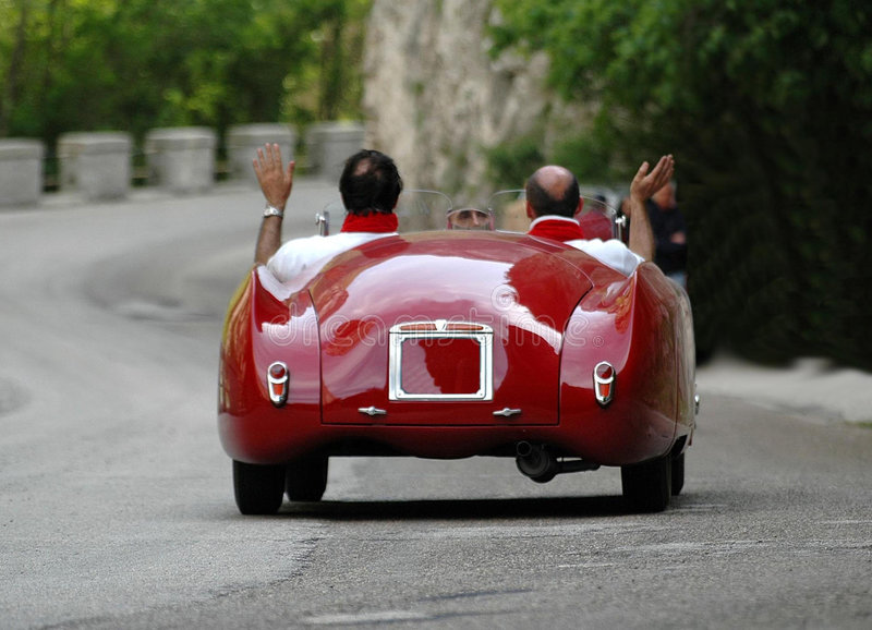 Mille Miglia race (*). Mille Miglia race along a mountain road in Italy stock photography