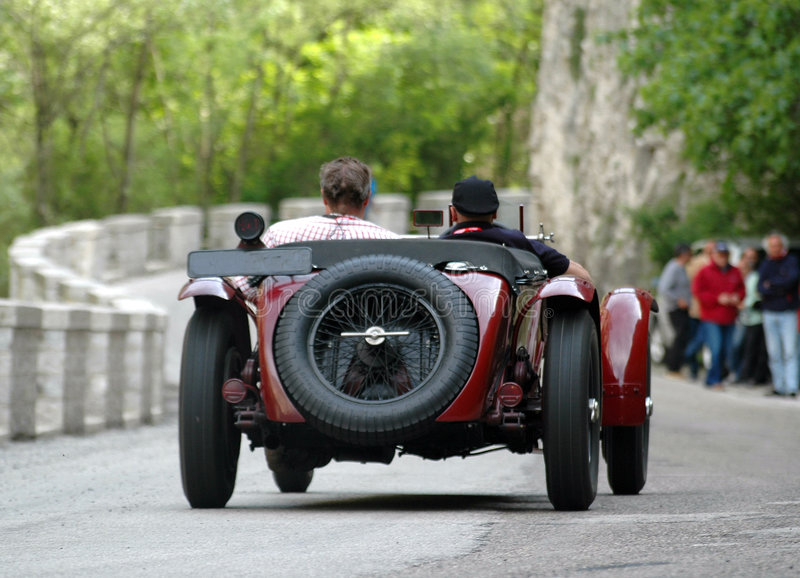 Mille Miglia race (*). Mille Miglia race along a mountain road in Italy stock photo