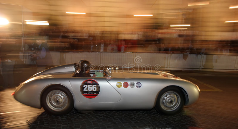 MILLE MIGLIA RACE 2008. Mille miglia italia, contest of regularity of historical cars. The 1000 Miles in Italy, a world-wide event of race of the historical cars royalty free stock images