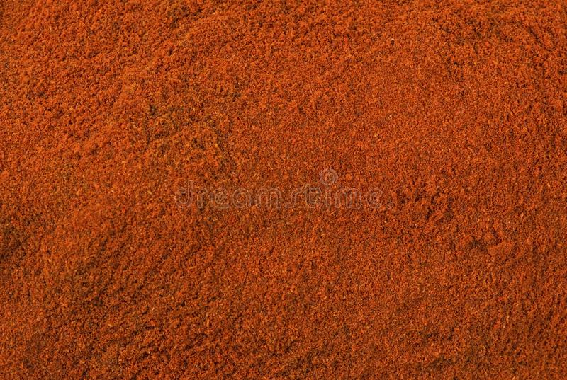 Milled or ground paprika or red pepper background. Natural seasoning texture. Natural spices and food ingredients royalty free stock photo