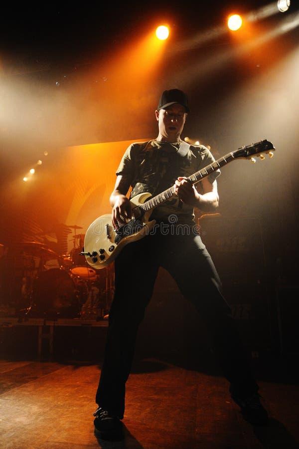 Millencolin (从厄勒布鲁,瑞典的带)在2011年9月22日的Apolo执行在巴塞罗那,西班牙 库存照片