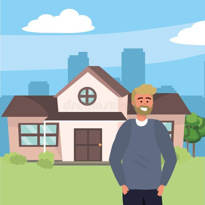 Millenial i bakgrund för husfasadfarstubro royaltyfri illustrationer