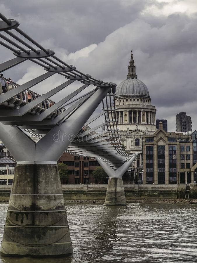 Millenium Bridge and St Pauls Cathederal royalty free stock photography