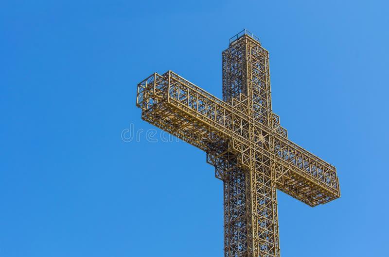 Millenium cross, Skopje, Macedonia. Cross, outdoor photography/iron cross. Millenium cross, Skopje, Macedonia royalty free stock photography