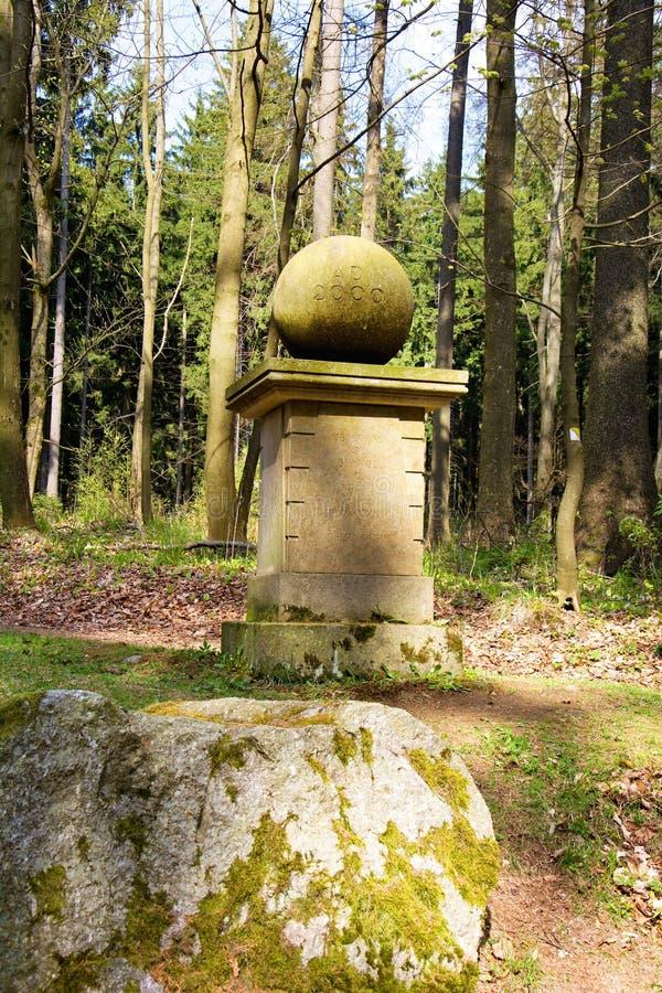 Millenium stone memorial - small west Bohemian spa town Marianske Lazne Marienbad - Czech Republic. Millenium memorial was built on a preserved foundation stone royalty free stock images