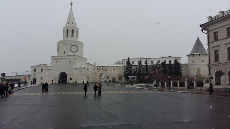 Milleniumfyrkanten Kazan i den historiska mitten av staden nära den Kazan Kreml, royaltyfria bilder