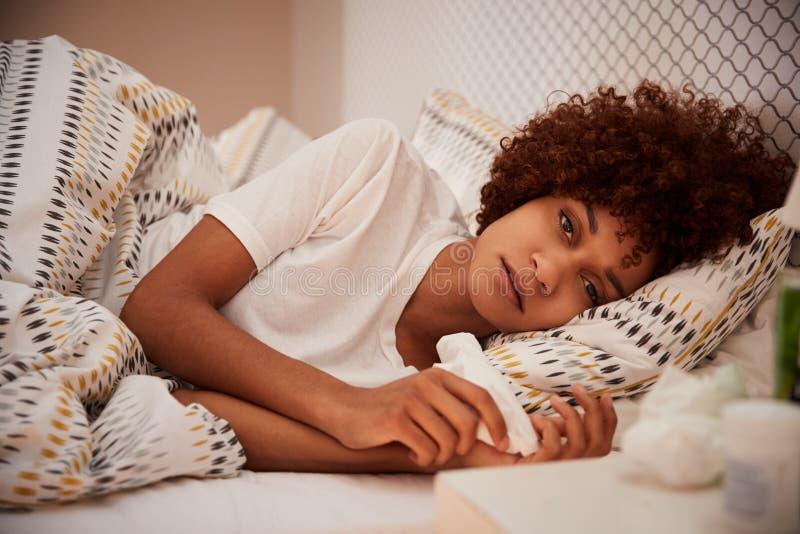 Millennial afrikansk amerikankvinna som dåligt ligger i säng som ser till kameran, slut upp arkivbild
