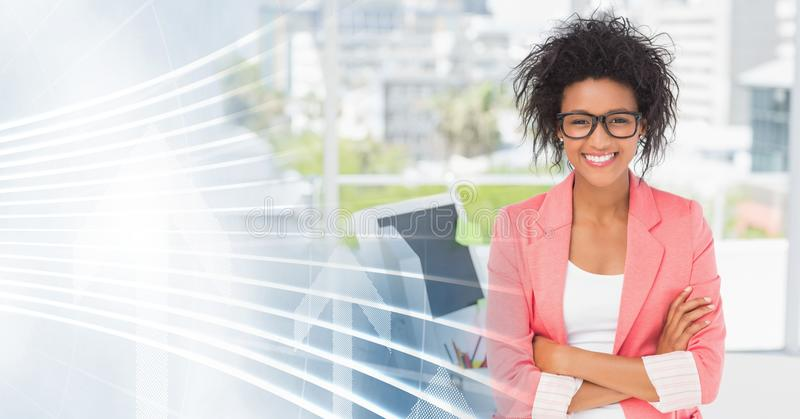 Millennial business woman arms folded and white interface transition stock image