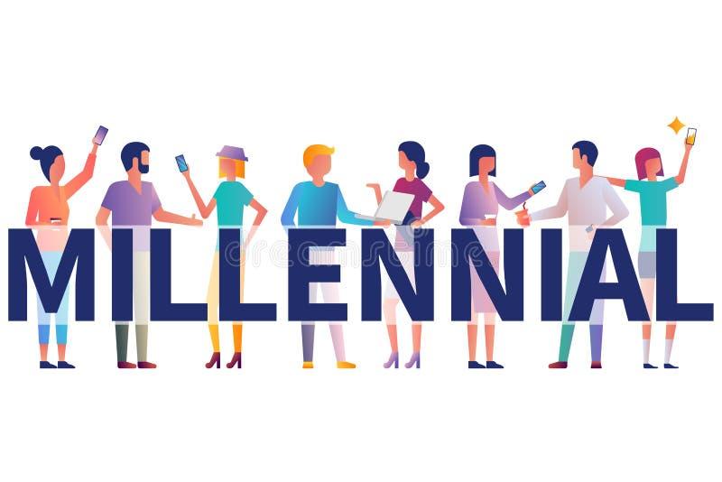 Millennial concept Groepsstudenten met gadgets in hun handen vector illustratie