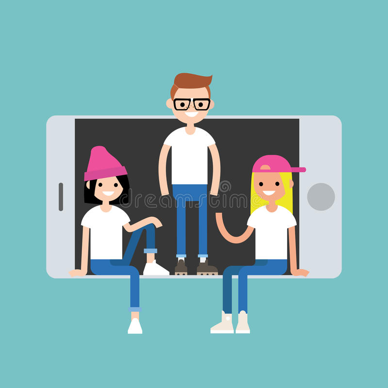 Millennial friends sitting and standing inside the smart phone. Concept / Editable flat illustration vector illustration