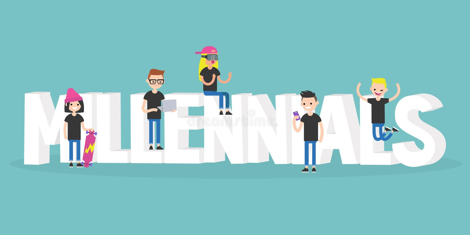 Millennial illustrerat tecken: unga moderna tecken stock illustrationer