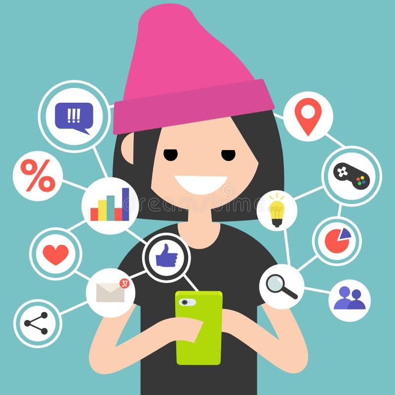Millennial konsumera online-innehåll på mobila enheten stock illustrationer