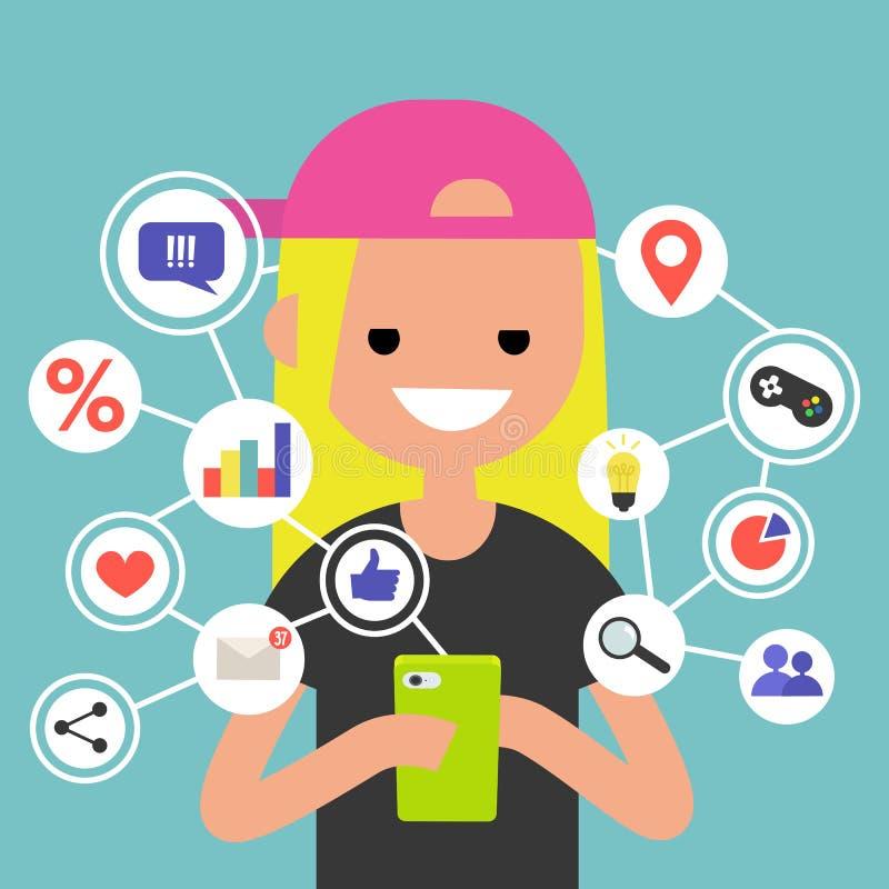 Millennial konsumera online-innehåll på mobila enheten royaltyfri illustrationer