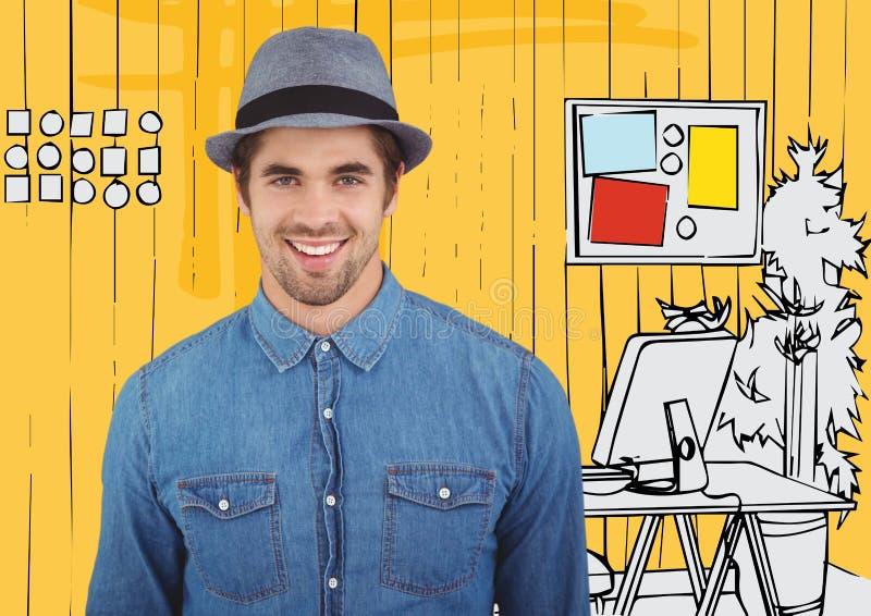 Millennial mens die tegen geel hand getrokken bureau glimlachen stock foto