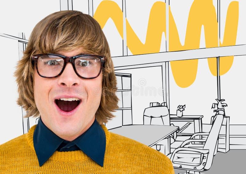 Millennial mens die tegen grijs en geel hand getrokken bureau hijgen royalty-vrije stock fotografie