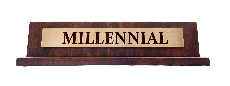 Millennial namnplatta royaltyfri bild
