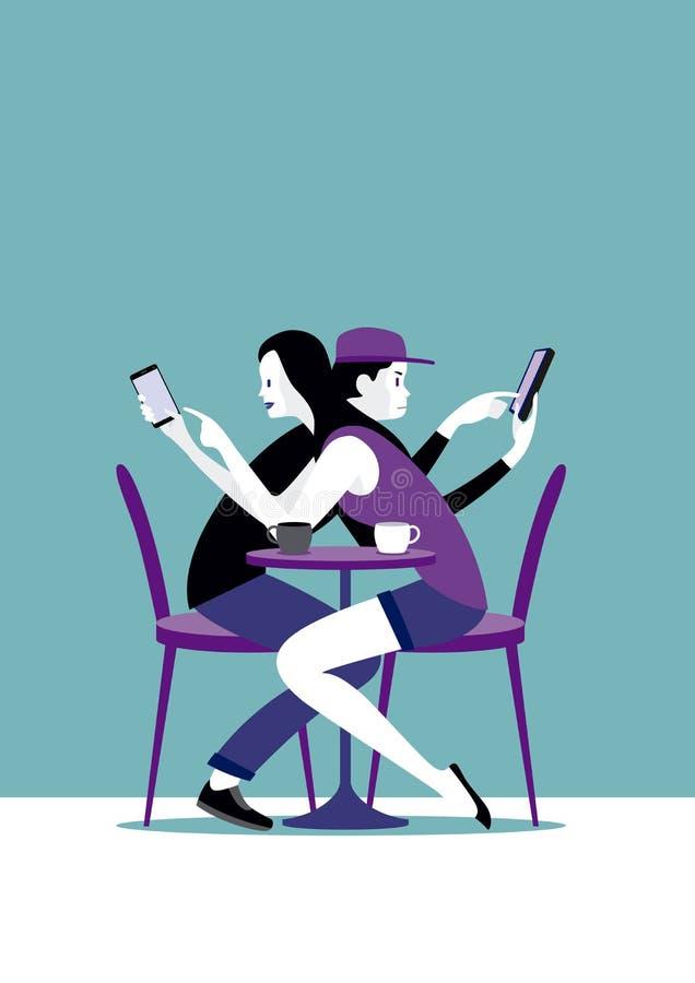 Millennial para i Mądrze telefon royalty ilustracja