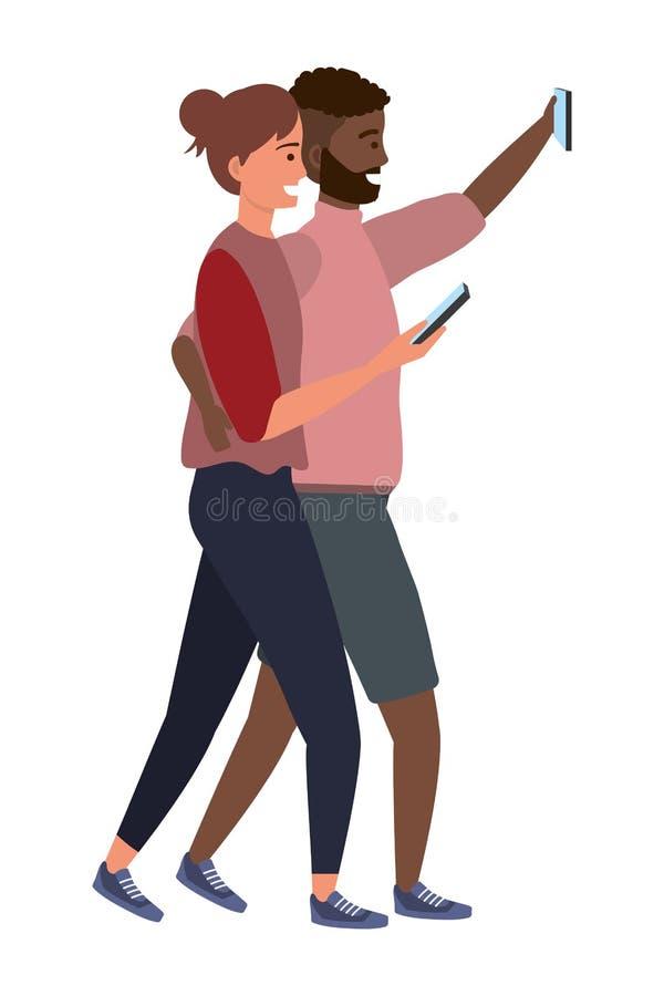 Millennial pary smartphone bierze selfie ilustracja wektor