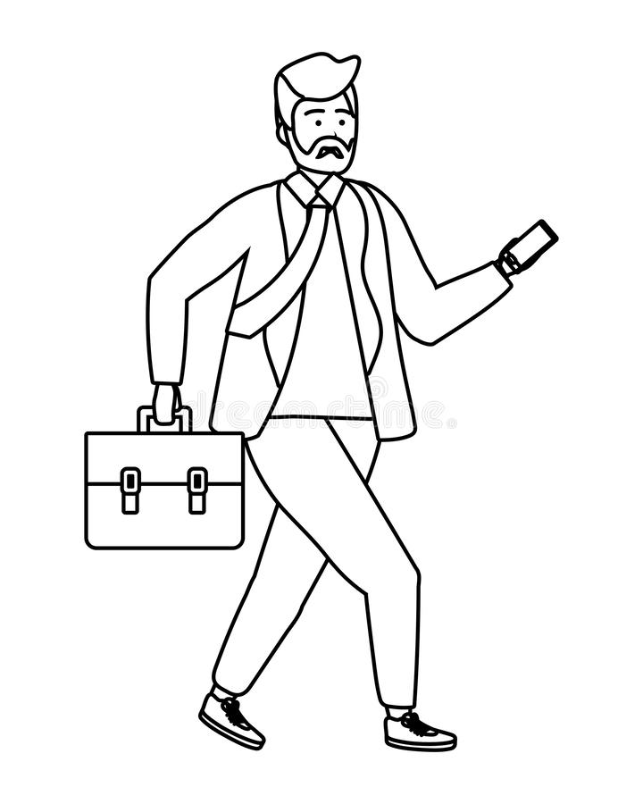 Millennial person stylish outfit isolated black and white. Millennial person stylish bearded outfit in business suit and briefcase with smartphone texting royalty free illustration