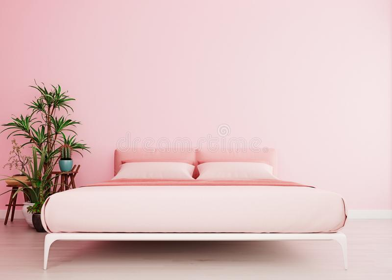 Millennial pink mock up wall with pink bed in modern interior background, bedroom, Scandinavian style, wide close-up vector illustration