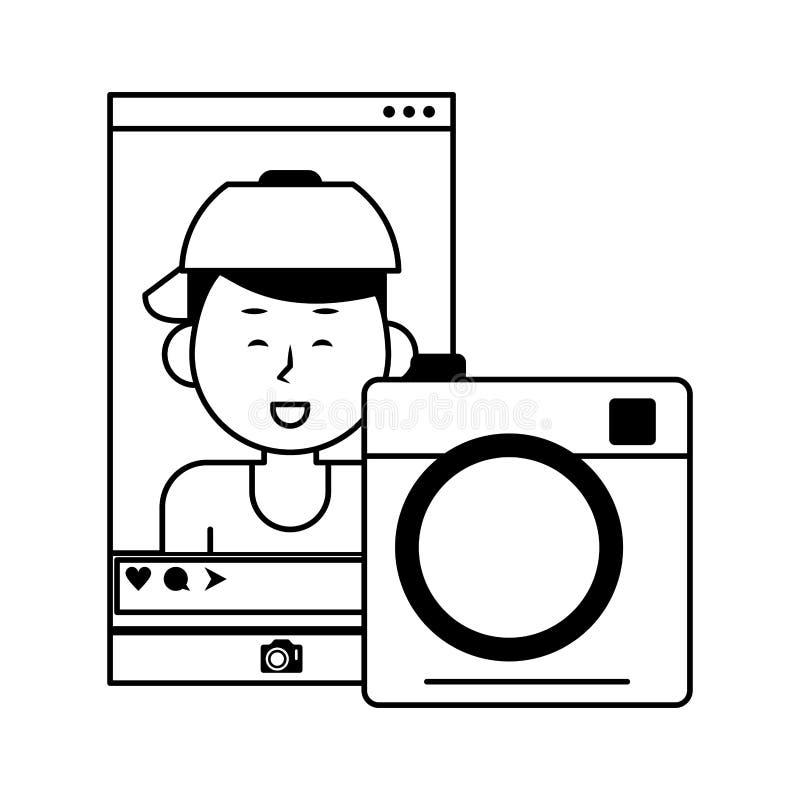 Millennial selfie na ogólnospołecznym sieci smartphone ekranie w czarny i biały ilustracji