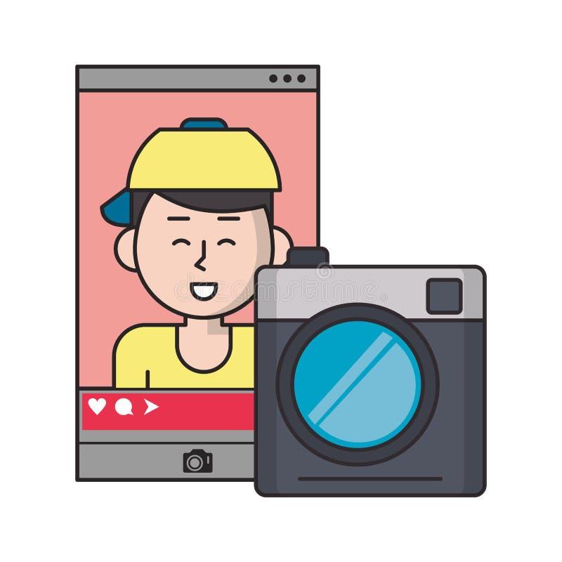 Millennial selfie na og?lnospo?ecznym sieci smartphone ekranie ilustracja wektor