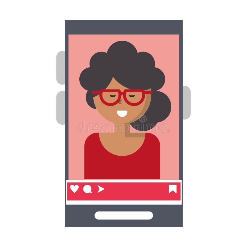 Millennial selfie na smartphone ekranie ilustracji