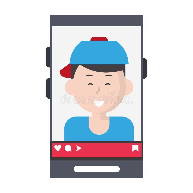 Millennial selfie na smartphone ekranie royalty ilustracja