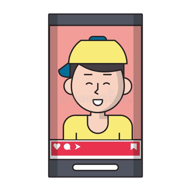 Millennial selfie na smartphone ekranie ilustracja wektor