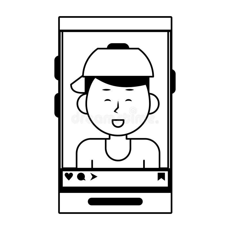 Millennial selfie na smartphone ekranie w czarny i biały ilustracji