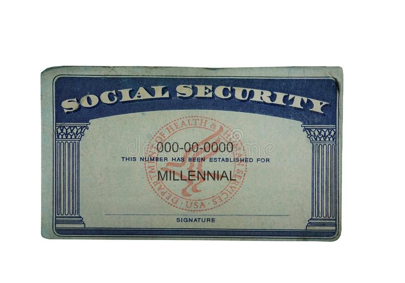 Millennial Social Security. Card isolated on white stock images