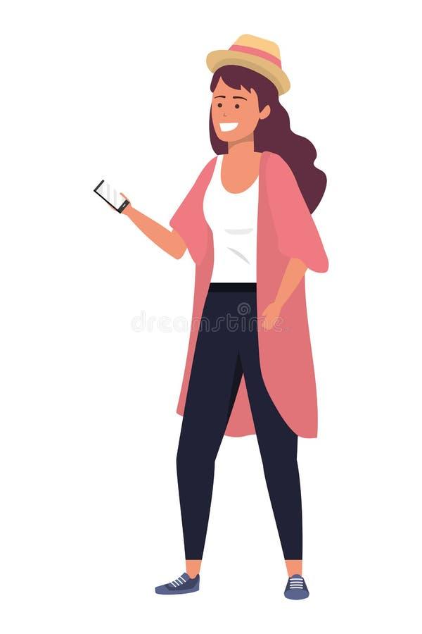 Millennial student die ge?soleerde smartphone gebruikt royalty-vrije illustratie