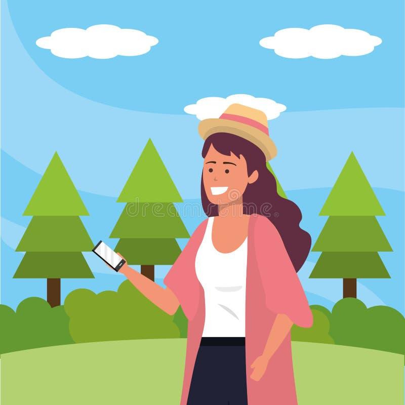Millennial student die smartphone in openlucht gebruiken stock illustratie