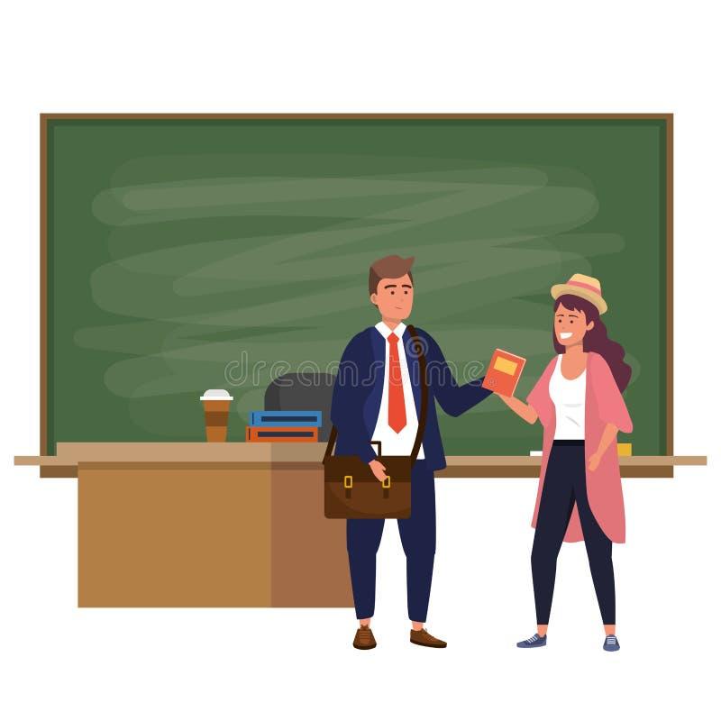Millennial studenten binnen klaslokaal stock illustratie
