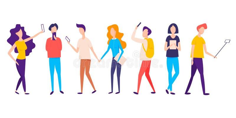 Millennial utveckling Millennial ton?ringar med smartphones Ungdomarsom anv?nder socialt massmedia Digital utveckling royaltyfri illustrationer