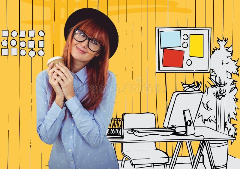 Millennial vrouw met koffie tegen geel hand getrokken bureau stock afbeelding