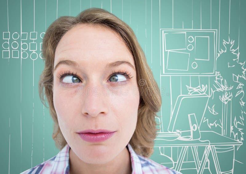 Millennial vrouwen grappig gezicht tegen aqua en wit hand getrokken bureau stock afbeelding