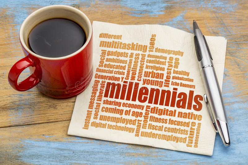 Millennials在餐巾的词云彩 图库摄影