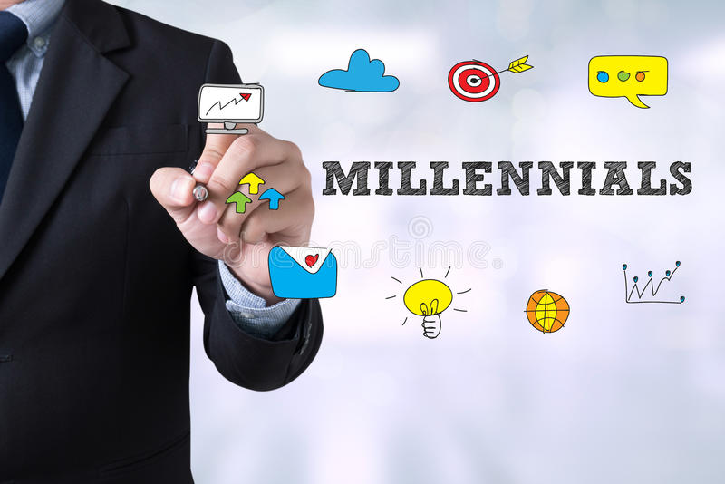 MILLENNIALS CONCEPT. Businessman drawing Landing Page on blurred abstract background royalty free stock photography