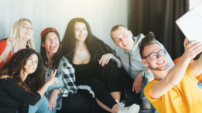 Millennials friendly community team selfie stock photo