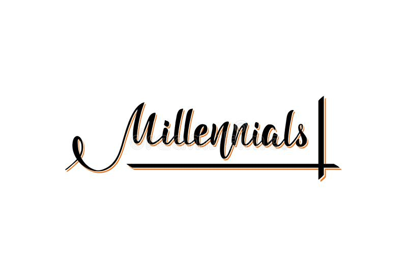 Millennials Handskrivet uttryck bokst?ver vektor illustrationer
